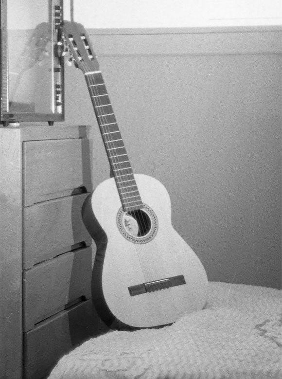 Keith's first guitar, a spanish-style acoustic